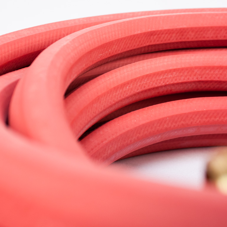 Red Rubber Hose Close Up Image